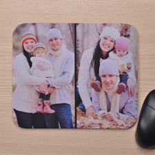 Personalized Black Two Photo Collage Design Mouse Pad
