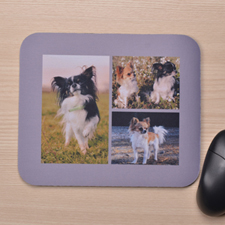 Personalized Grey Three Collage Print Mouse Pad