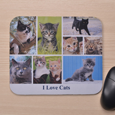 Custom Eight Collage Mousepad Title Below Photos, White