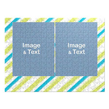 Two Collage Photo Jigsaw, Green and Blue Watercolor Stripes