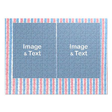 Two Collage Photo Jigsaw, Pink and Blue Watercolor Stripes