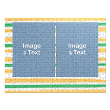 Two Collage Photo Jigsaw, Green and Yellow Watercolor Stripes