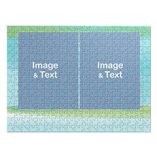 Two Collage Photo Jigsaw, Blue and Green Splash Watercolor