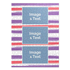 Three Collage Portrait Puzzle, Red and Purple Watercolor Stripes