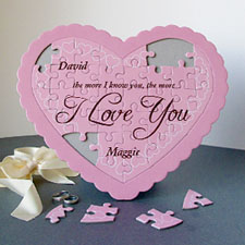 Pink Hearts Personalized Heart Puzzle