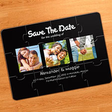 Save the Date Puzzle Invitations, Puppy Love Black