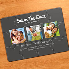 Save the Date Puzzle Invitations, Puppy Love Grey