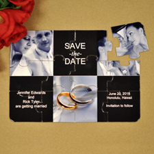 Tie the Knot Invitation Puzzle, 3 Photo Collage Black