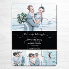Save the Date Puzzle Invitations, Black 4 Photo Collage
