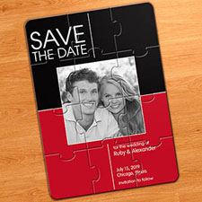 2 Tones Wedding Announcements Puzzle, Red & Black