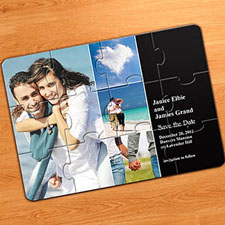Save the Date Puzzles, 4 Pictures Collage Black