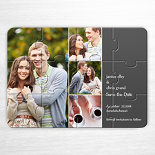 Save the Date Puzzle, 4 Pictures Collage Grey