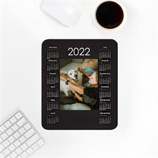 Custom Print Portrait Calendar 2020, White Mouse Pad