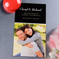 Create Joined Initials Save The Date Photo 2x3.5 Card Size Magnet