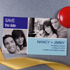 Create Blue Save The Date Photo 2x3.5 Card Size Magnet