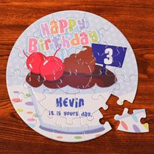 Baby Cake Blue Birthday Round 7 1/4