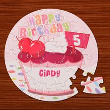 Baby Cake Pink Birthday Round 7 1/4