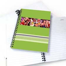 Three Collages Colorful Stripes Notebook, Green