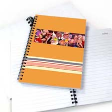 Three Collages Colorful Stripes Notebook, Orange