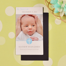 DIY Baby Boy Blessed Baptism Photo 2x3.5 Card Size Magnet