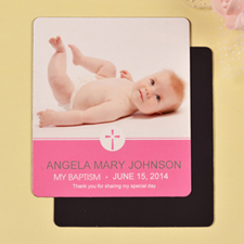 Print 3.5X4 Delicate Pink Baptism Photo Fridge Magnets