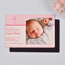 Personalized 4x6 Large Girl Christening Photo Fridge Magnets