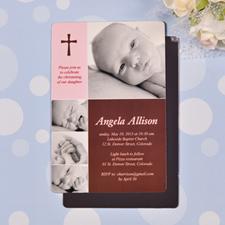 Personalized 4x6 Large Fashion Baby Girl Baptism Photo Fridge Magnets