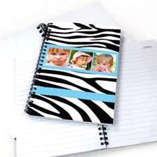 Zebra Pattern Three Collage NoteBook, Cool Blue