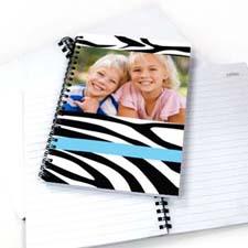 Zebra Pattern Photo NoteBook, Cool Blue