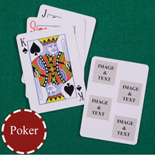 Four White Collage Square Custom Back Playing Cards