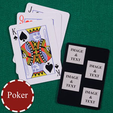 Four Black Collage Square Custom Back Playing Cards