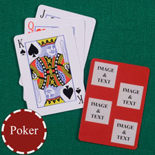Four Red Collage Square Custom Back Playing Cards