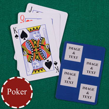 Four Navy Collage Square Custom Back Playing cards