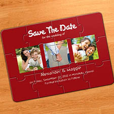 Save the Date Puzzle Invitation, Puppy Love Red
