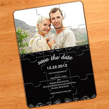 Save the Date Puzzle Invitations, Black Magical Day