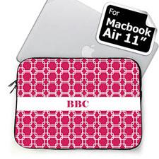 Custom Initials Hot Pink Links MacBook Air 11 Sleeve