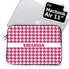 Custom Name Hot Pink Houndstooth MacBook Air 11 Sleeve