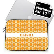 Custom Initials Orange Lkat MacBook Air 11 Sleeve
