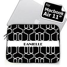 Custom Name Black Trellis MacBook Air 11 Sleeve