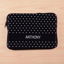 Custom Name Black Polka Dots MacBook Air 11 Sleeve