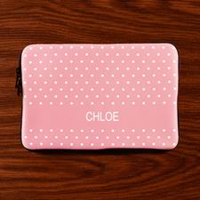Custom Initials Pink Polka Dots MacBook Air 11 Sleeve
