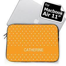 Custom Name Orange Polka Dots MacBook Air 11 Sleeve