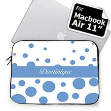 Custom Name Sky Blue Retro Circles MacBook Air 11 Sleeve