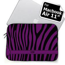Custom Initials Black & Purple Zebra Pattern  MacBook Air 11 Sleeve
