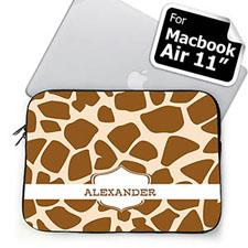 Custom Name Brown Giraffe Pattern MacBook Air 11 Sleeve