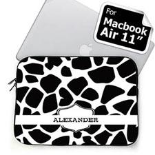 Custom Name Black Giraffe Pattern MacBook Air 11 Sleeve