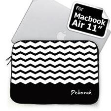 Custom Name Black Chevron MacBook Air 11 Sleeve