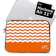 Custom Initials Orange Chevron MacBook Air 11 Sleeve