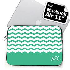 Custom Initials Mint Chevron MacBook Air 11 Sleeve