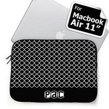Custom Initials Black Quatrefoil MacBook Air 11 Sleeve